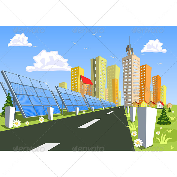 City and Solar Power Technology - Buildings Objects