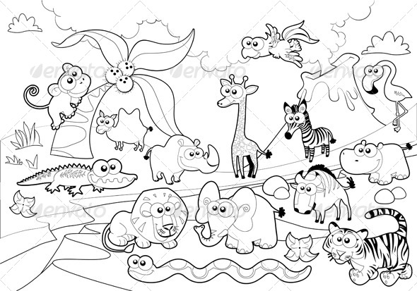 Savannah Animal Family with Background - Animals Characters
