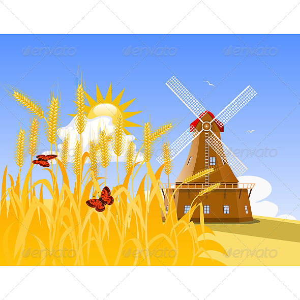 Wheat Field and Mill - Landscapes Nature