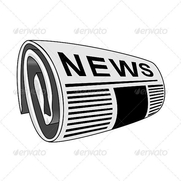 Rolled Newspaper - Vectors
