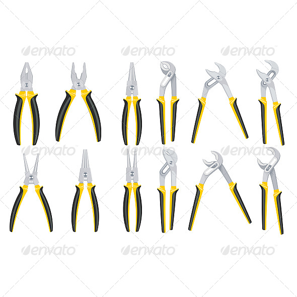 Tools Pliers Set - Objects Vectors