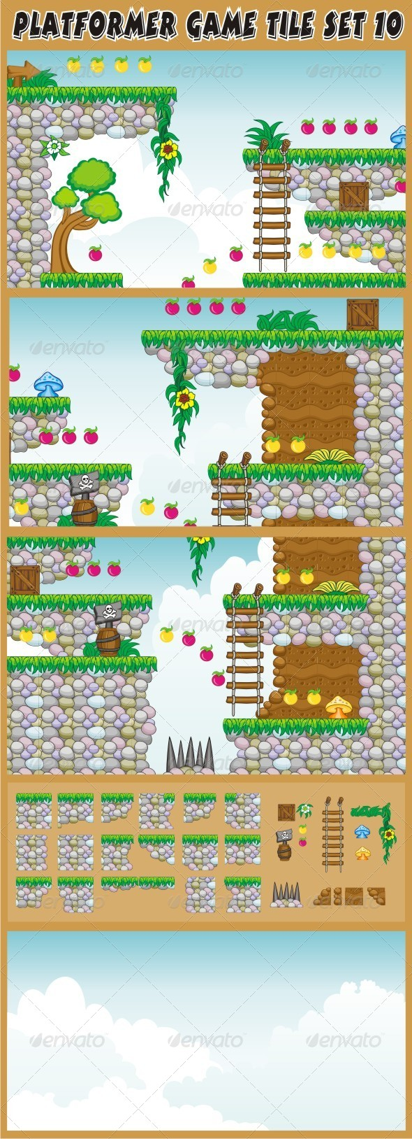 Platformer Game Tile Set 10 - Tilesets Game Assets