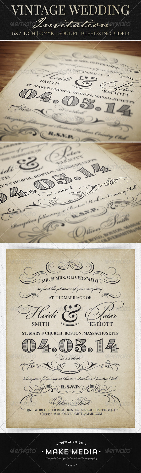 Vintage Wedding Invitation by MakeMediaCo | GraphicRiver