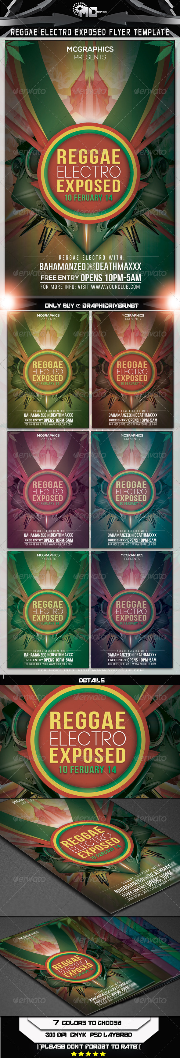 Reggae Electro Exposed Flyer Template - Clubs & Parties Events