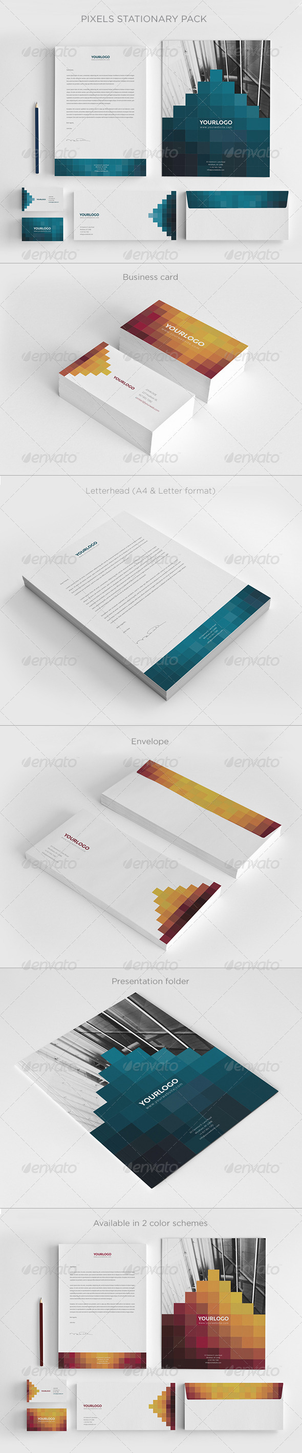 Pixels Stationary Pack - Stationery Print Templates