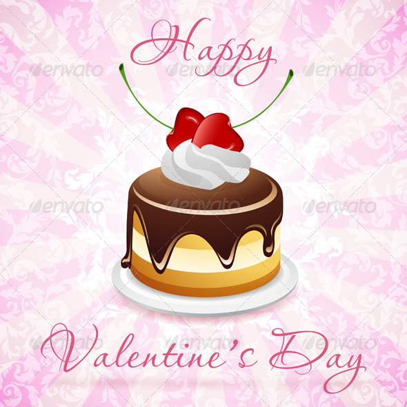 Happy Valentine's Day Floral Card - Valentines Seasons/Holidays