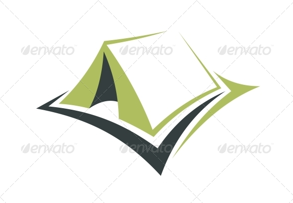 Green Tent for an Eco Holiday - Travel Conceptual