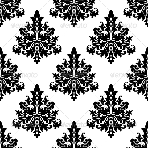Seamless Damask Style Floral Wallpaper - Patterns Decorative