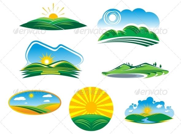 Set of Summer Landscapes - Landscapes Nature