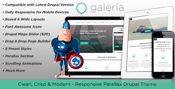 Image of Galeria, Responsive Creative Drupal Theme