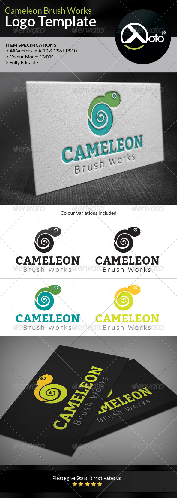 Cameleon Brush Works Logo - Animals Logo Templates