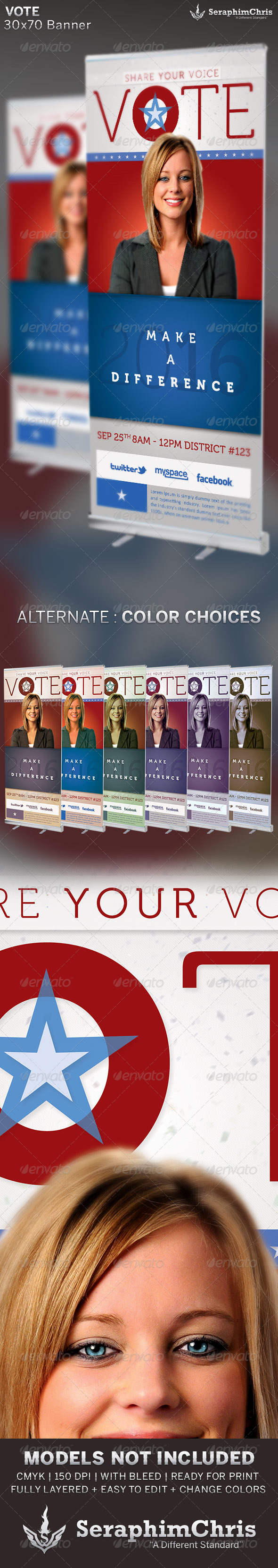 Vote Political Election: Banner Template - Signage Print Templates