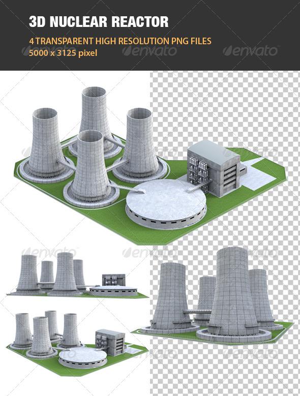 3D Nuclear Reactor - Technology 3D Renders