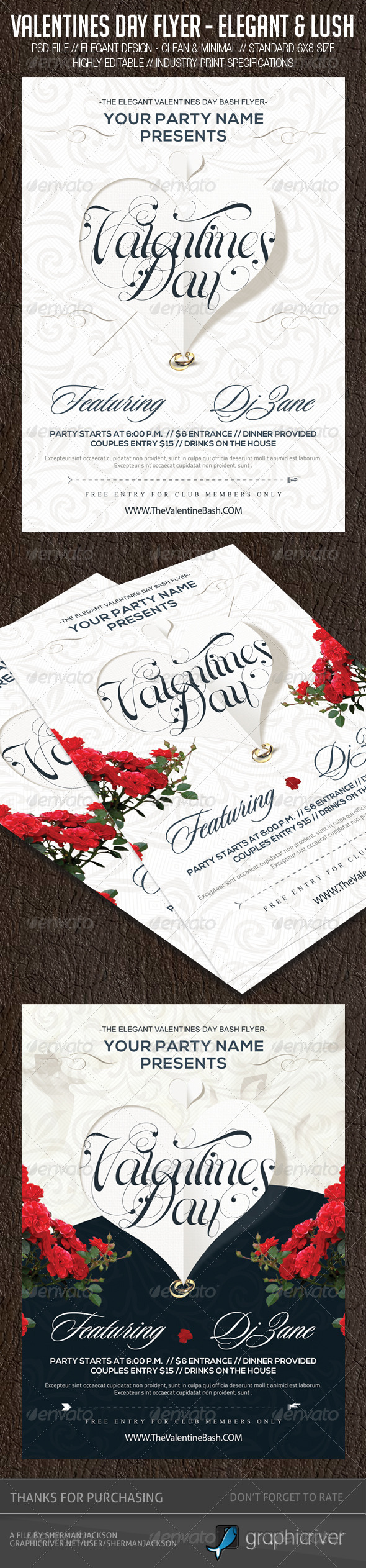 Valentines Day Flyer - Elegant & Lush - Events Flyers