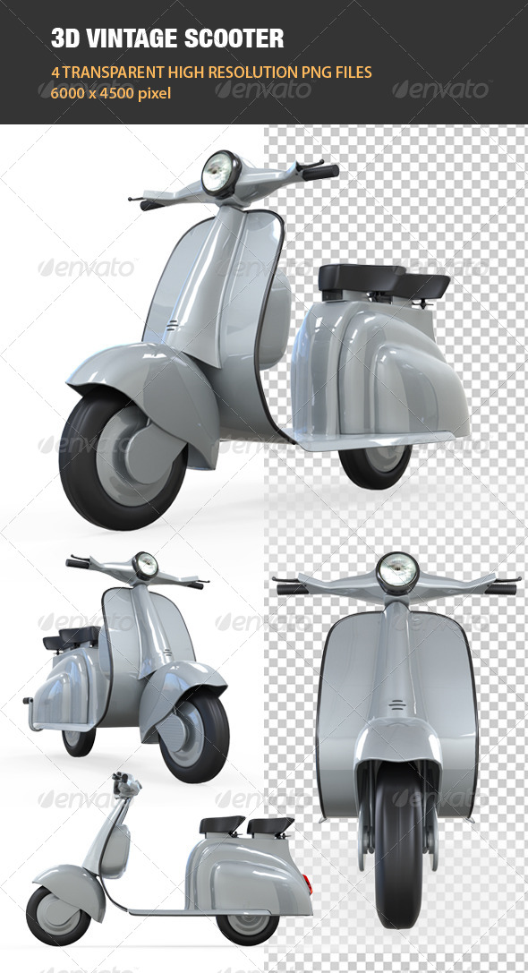3D Vintage Scooter - Objects 3D Renders