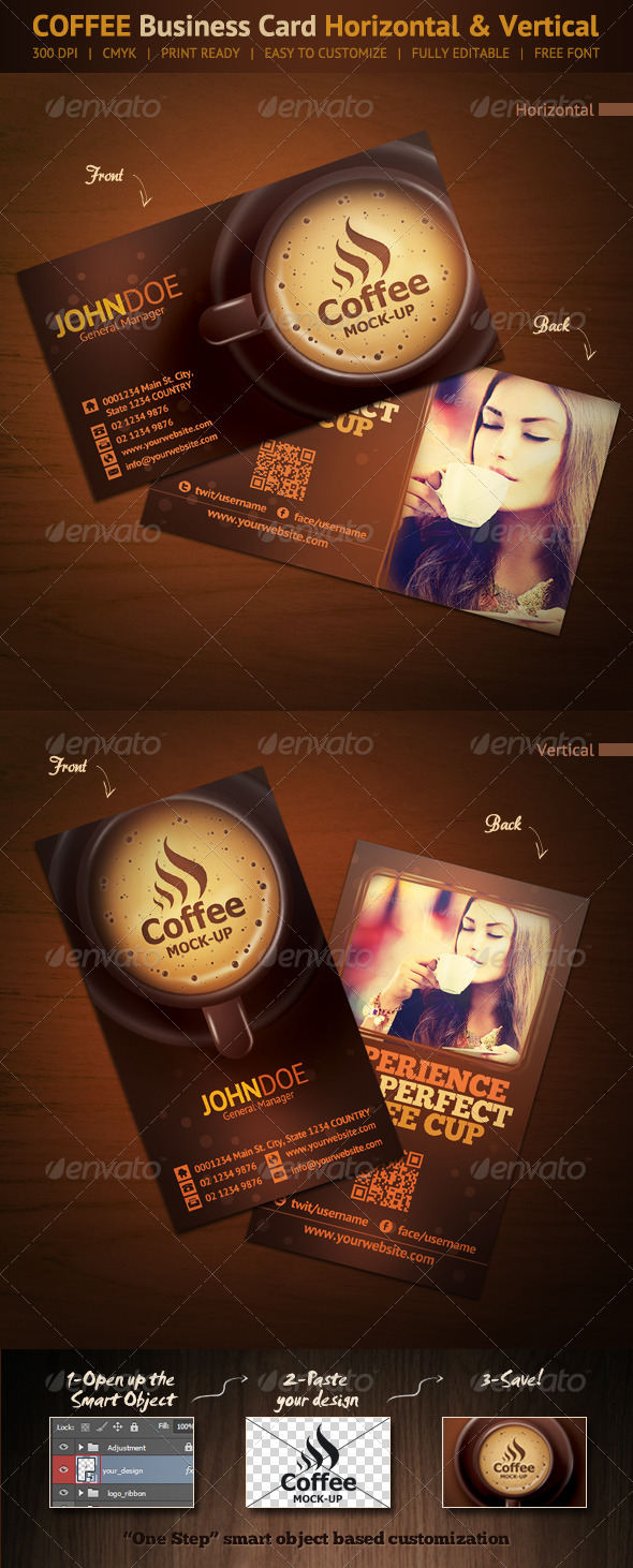 Coffee Business Card - Horizontal & Vertical - Creative Business Cards