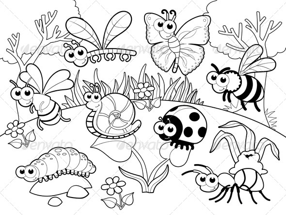 Bugs and a Snail - Animals Characters