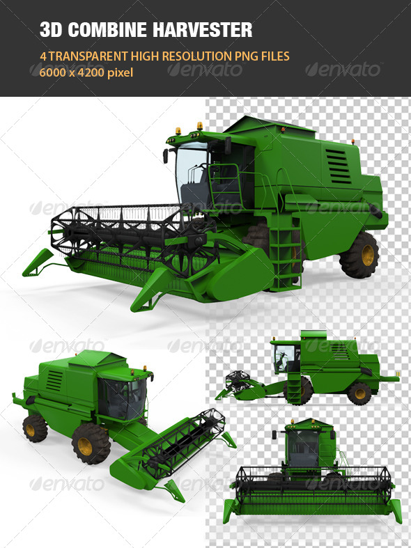 3D Combine Harvester - Objects 3D Renders