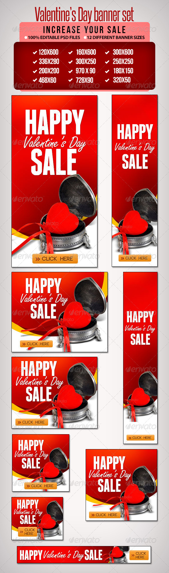 Valentine's Day Banner Set 6 - Banners & Ads Web Elements