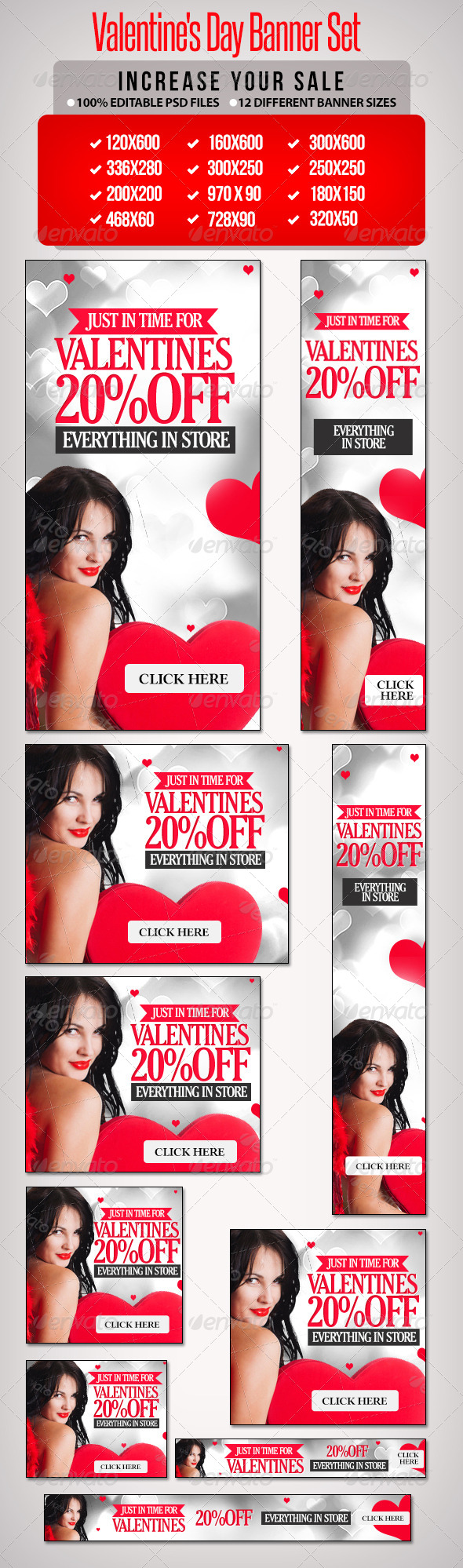 Valentine's Day Banner Set 7 - Banners & Ads Web Elements