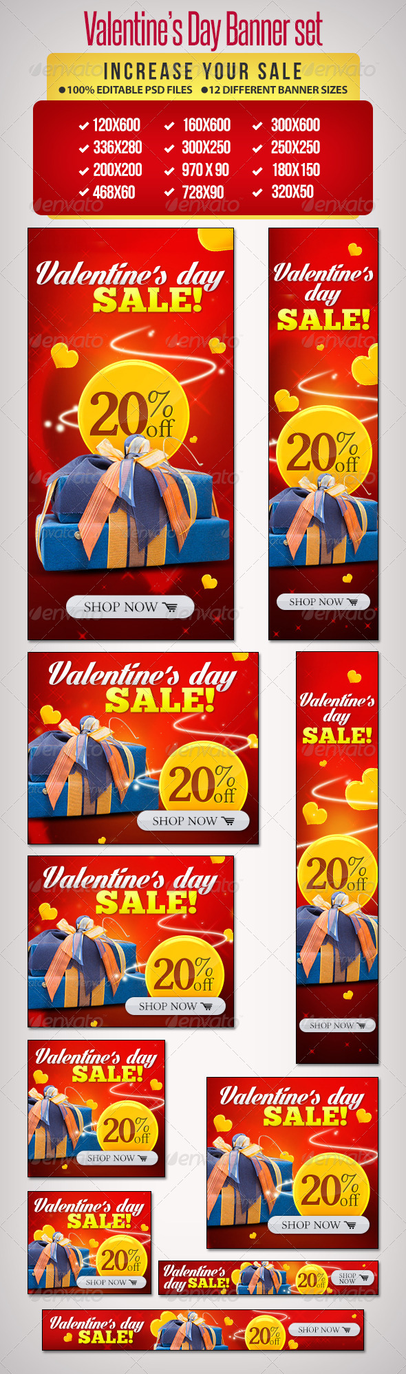 Valentine's Day Banner Set 8 - Banners & Ads Web Elements