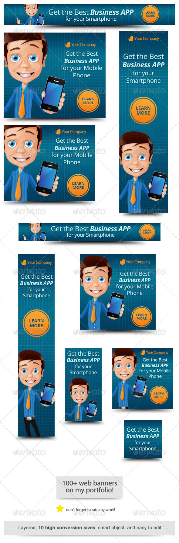 Business App Web Banner - Banners & Ads Web Elements