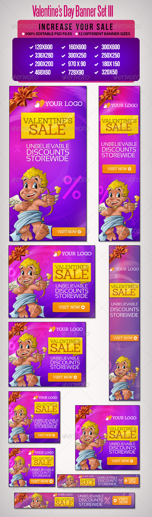 Valentine's Day Banner Set 3 - Banners & Ads Web Elements