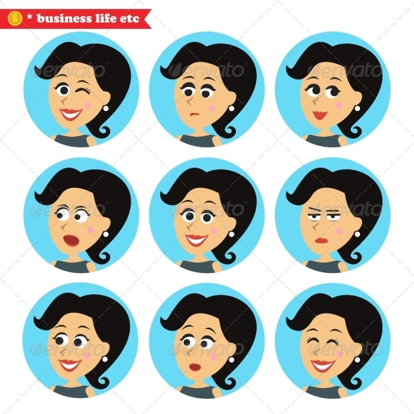Facial Emotions Icons Set - People Characters