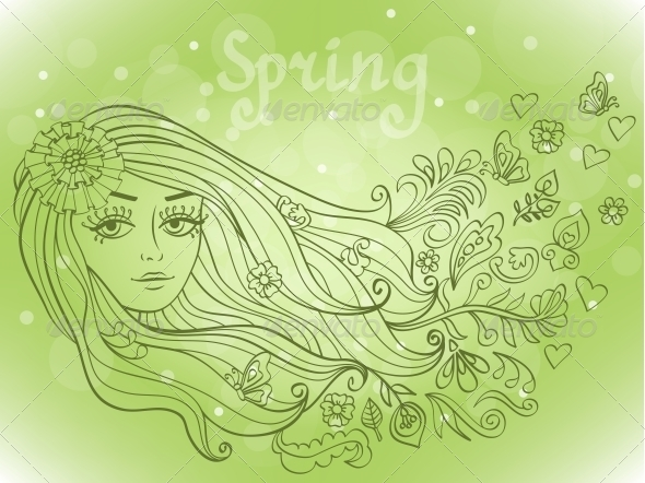 Spring Girl Portrait with Blooming Flowers - Seasons Nature