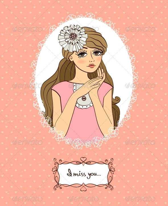 Valentines Card with Girl - Valentines Seasons/Holidays