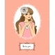 Valentines Card with Girl - GraphicRiver Item for Sale