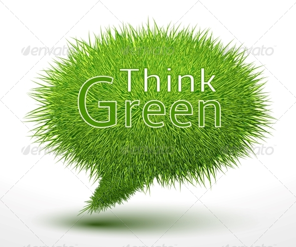 Think Green Concept on Grass - Concepts Business