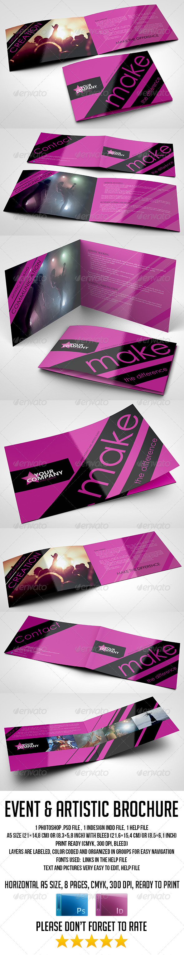 A5 8 Pages Event and Artistic Brochure - Corporate Brochures