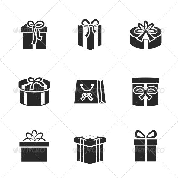 Gift Boxes Icons Set - Web Elements Vectors