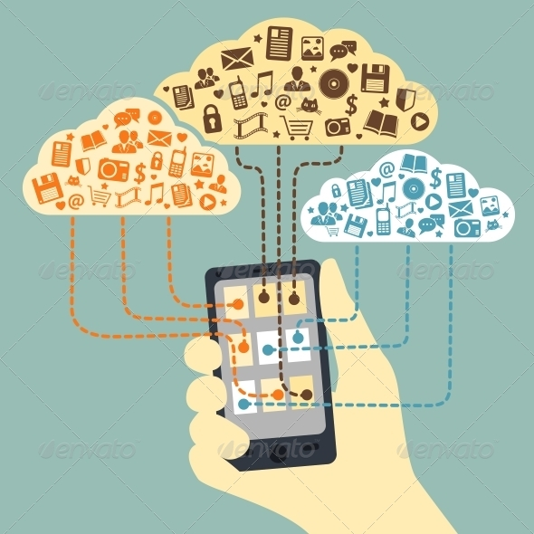 Hand Holding Smartphone with Cloud Service - Communications Technology