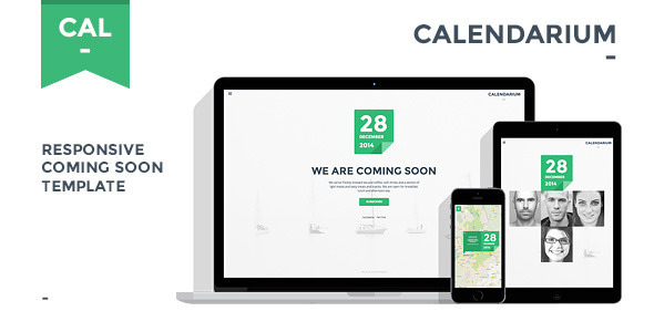 Calendarium - Responsive Coming Soon Template - Under Construction Specialty Pages