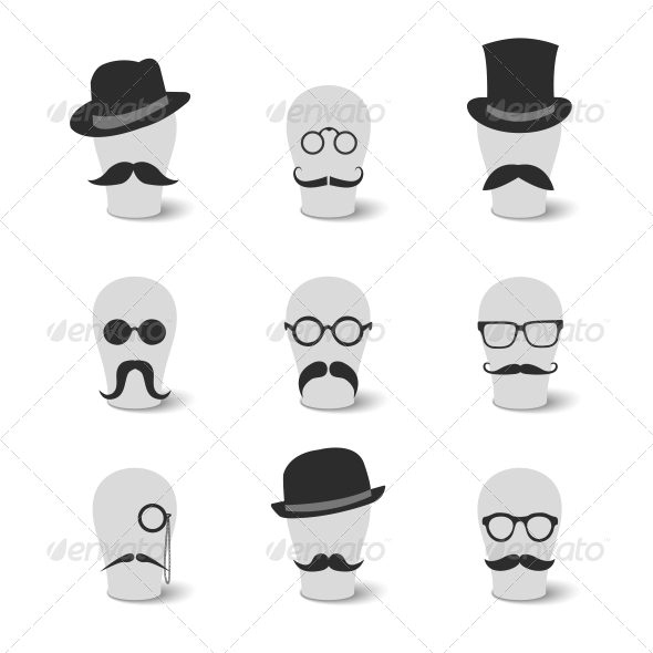 Vintage Mustaches with Hats and Glasses  - Web Elements Vectors