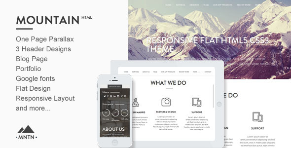 Mountain -One Page Parallax Html Template