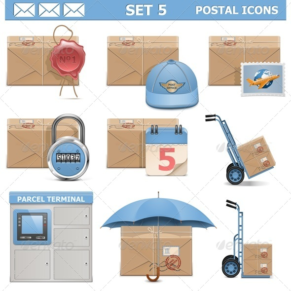 Postal Icons Set 5 - Services Commercial / Shopping