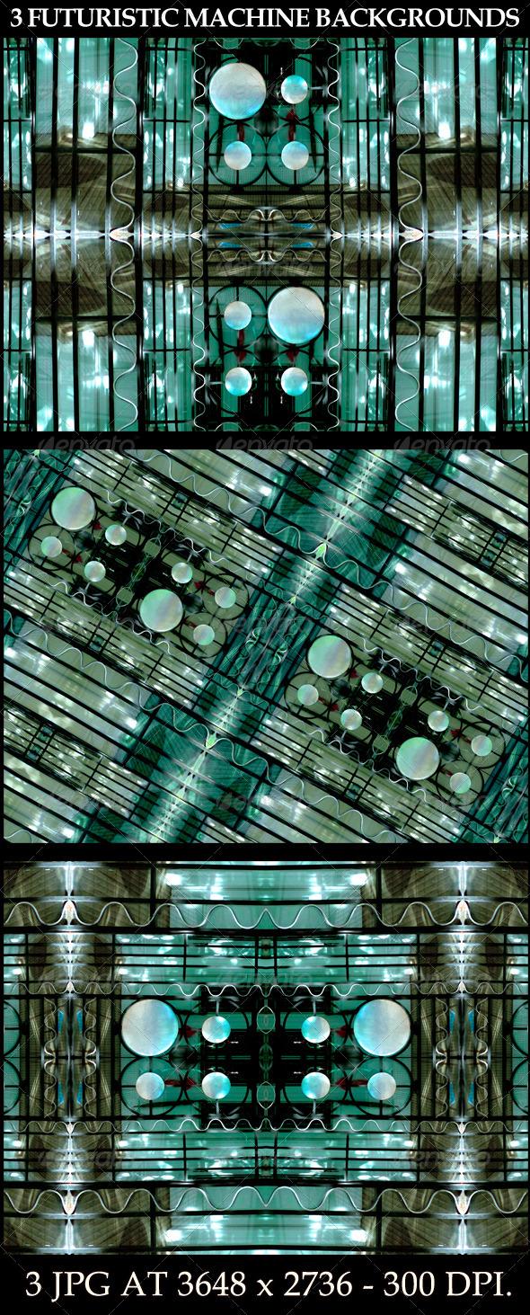 3 Futuristic Machine Backgrounds - Tech / Futuristic Backgrounds