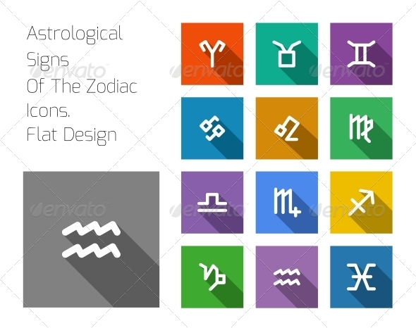 Zodiac Symbol Icons on Color Background - Web Technology