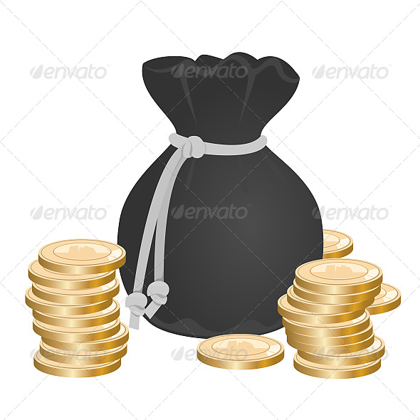 Sack with Money on Pile of Golden Coins - Business Conceptual