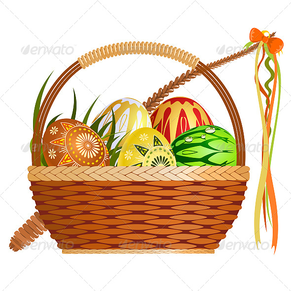 Basket with Easter Eggs - Seasons/Holidays Conceptual