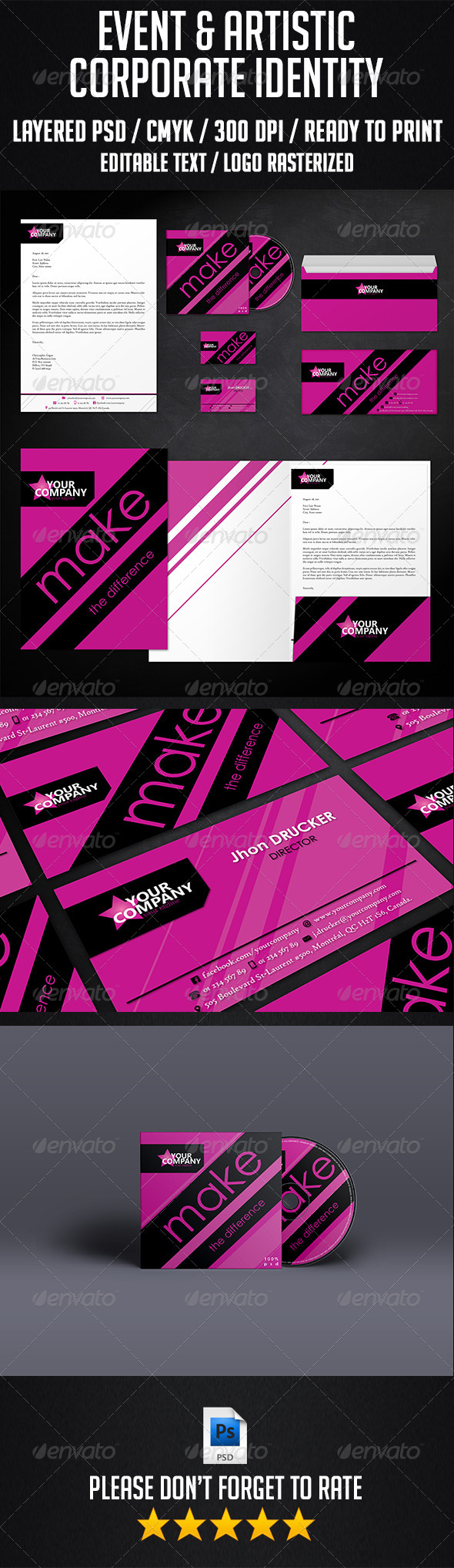 Event and Artistic Corporate Identity - Stationery Print Templates