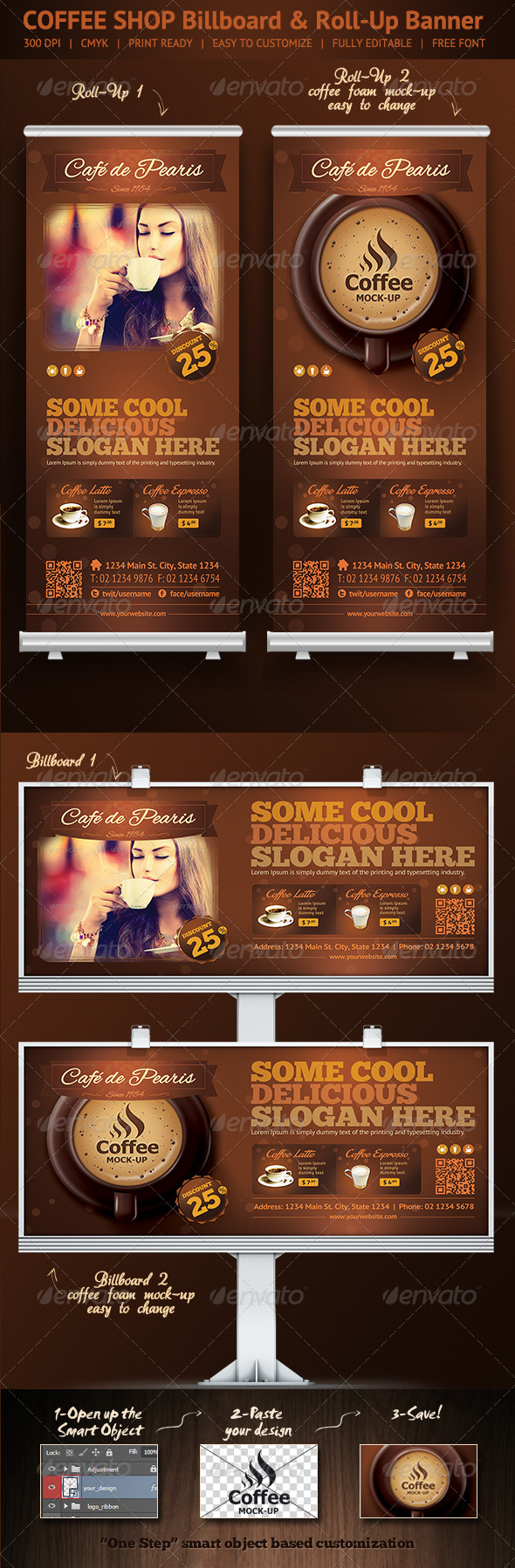 Coffee Shop Roll-Up Banner & Billboard Template - Signage Print Templates