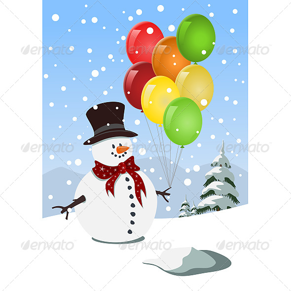 Happy Snowman Holding Colorful Balloons - Christmas Seasons/Holidays
