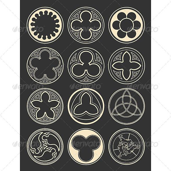 Element Windows in Gothic Style - Decorative Symbols Decorative