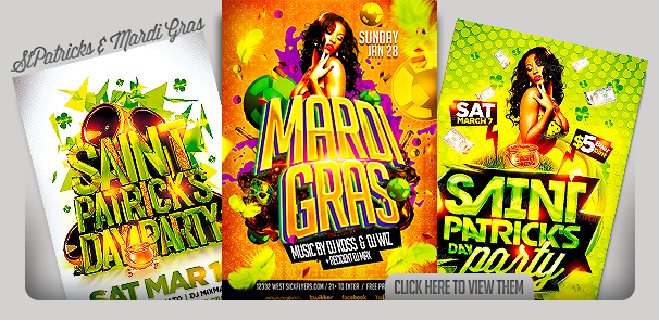 St Patricks Day And  Mardi Gras Flyer Templates