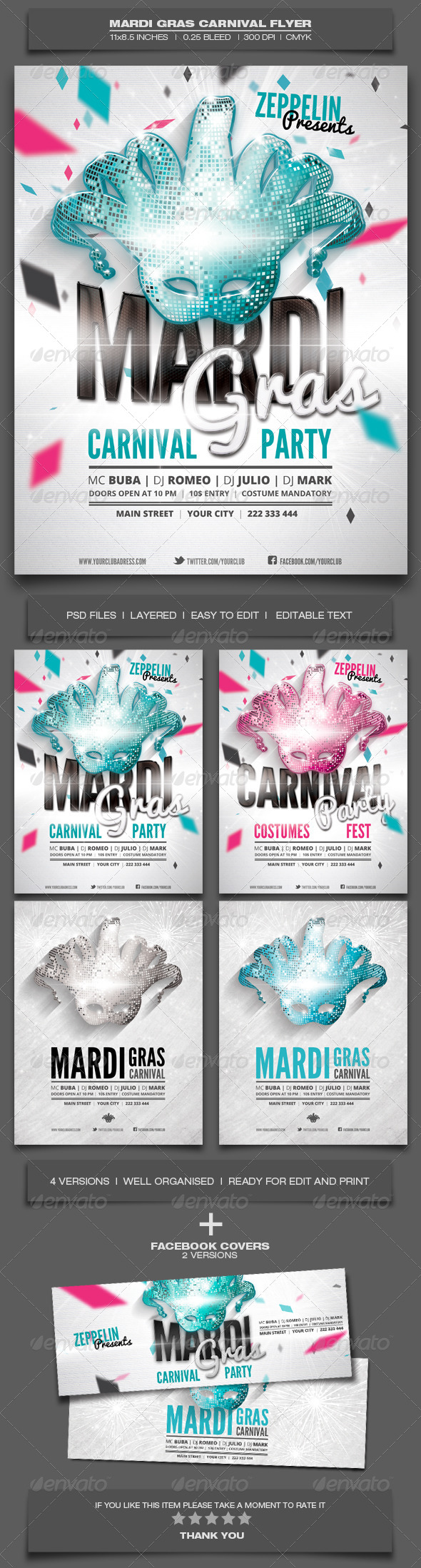 Mardi Gras Carnival Flyer Template - Holidays Events