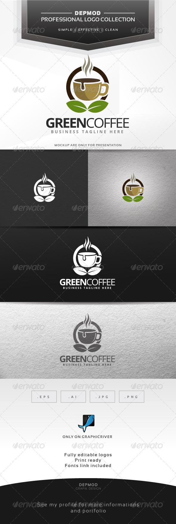 Green Coffee Logo - Food Logo Templates